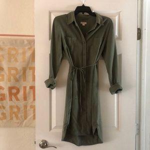 Merona olive green button-down dress
